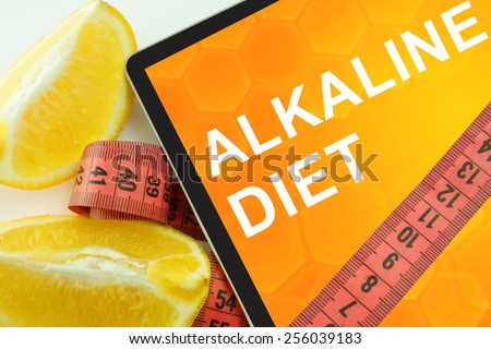 alkaline  diet on tablet.  - stock photo