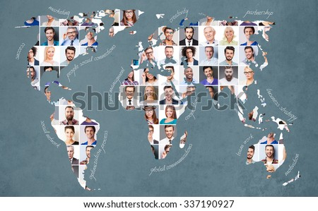 All about people. Collage of diverse multi-ethnic and mixed age people expressing different emotions  - stock photo