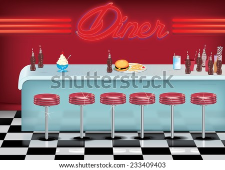 All American Diner. A Vintage American Diner with checkerboard shiny floor, Soda drinks, burger and fries,ice cream and straws together with plush red stools. - stock photo