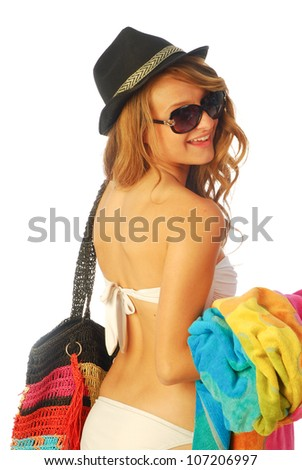 All at sea - A young woman is going to the beach 203 bis - stock photo