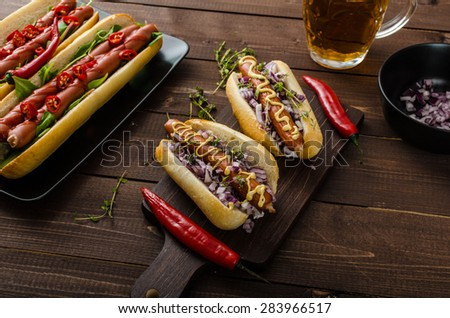 All beef dogs variations, nice hot dogs with beer, differend sizes and delicious flavour - stock photo