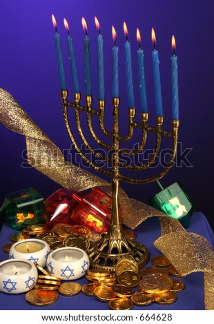 all candle lite on the traditional Hanukkah menorah - stock photo