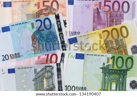 All current Euro banknotes forming a background - stock photo