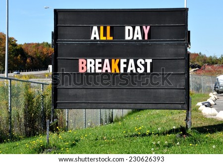 All day breakfast signage - stock photo