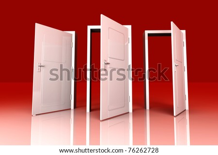 All Doors are opened for you... 3D rendered Illustration. - stock photo