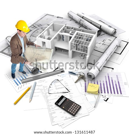 All elements of a property purchase, an architect with blueprints, a building under construction, a mortgage application.. - stock photo