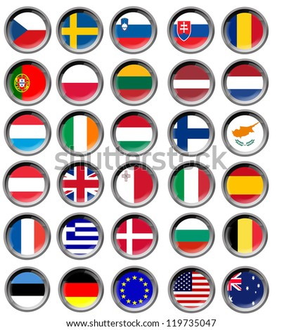 All EU flags in buttons - stock photo