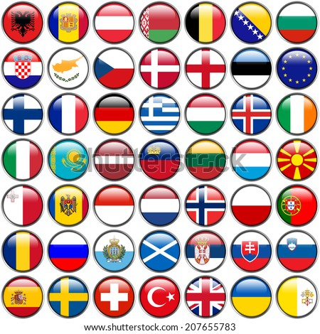 All European Flags - circle glossy buttons. Every button is isolated on white background. - stock photo