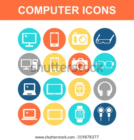 All kinds of Computer , smart phone, digital tablet, wearable devices icon set - Flat Series - stock photo