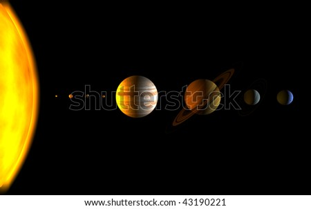 all planet of solar system - stock photo