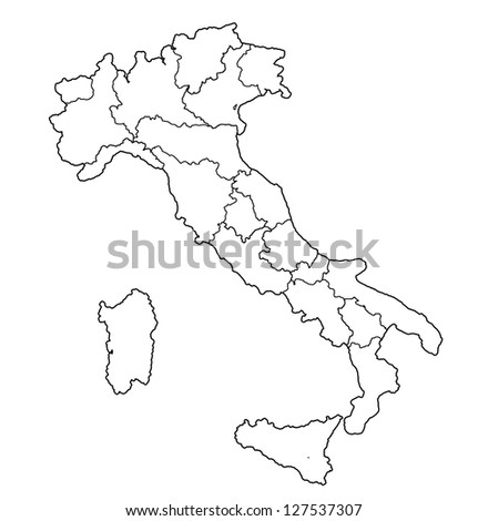 all regions on administration map of italy with flags - stock photo