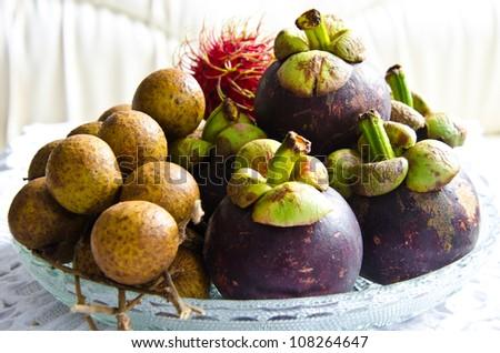 All seasons Thai fruit mangosteen,rambutan and longan - stock photo