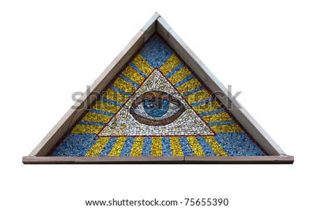 All-seeing eye - a mosaic of smalt isolated on a white background - stock photo