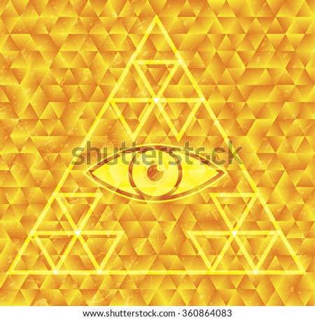All seeing eye illsutration - stock photo