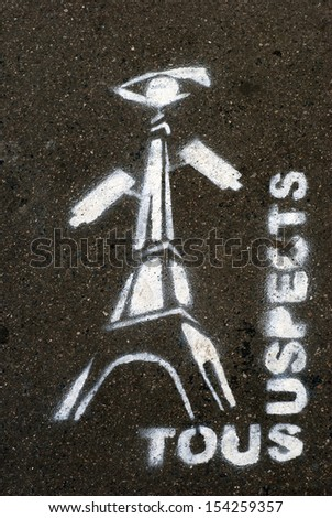 All suspects graffiti in Paris, France - stock photo