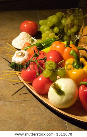 All the indredients for a fine Italian dinner. - stock photo