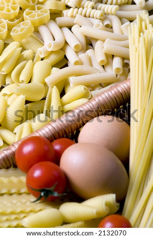 All the ingredients for a good pasta - stock photo