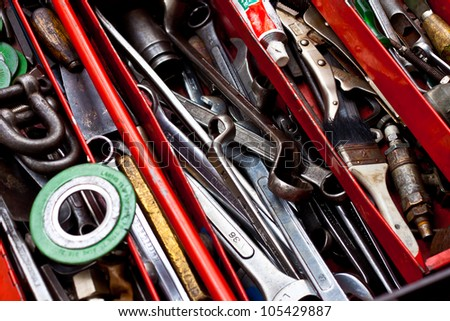 all tool in box - stock photo
