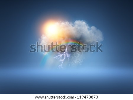 All Weather Cloud - A cloud with lots of weather elements! - stock photo