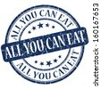 all you can eat grunge blue round stamp - stock photo