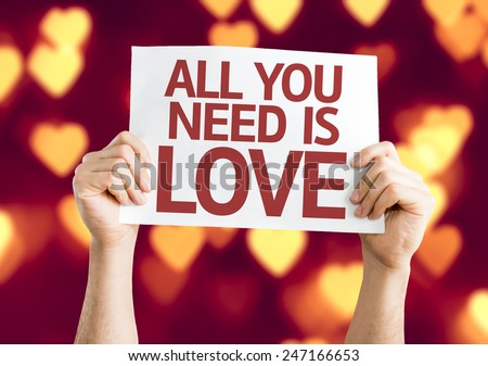 All You Need is Love card with heart bokeh background - stock photo
