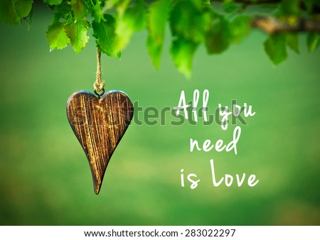 All you need is love - inspirational quote on natural green background with wooden shape of heart. - stock photo