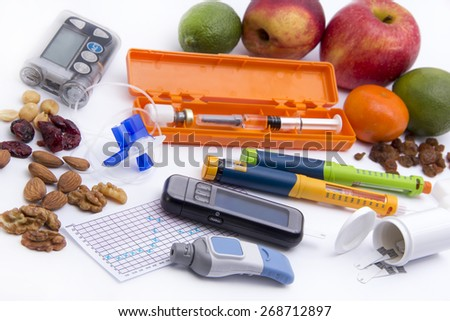 All you need to control diabetes: - insulin pump for continuous feed -blood sugar meter - insulin pen - grucose injection (adrenalin)  - sugar - low sugar food - stock photo