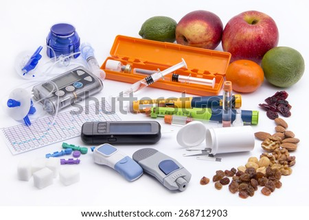 All you need to control diabetes: - insulin pump for continuous feed - blood sugar meter - insulin pen (injection) - grucose injection (adrenalin)  - sugar - health food - stock photo