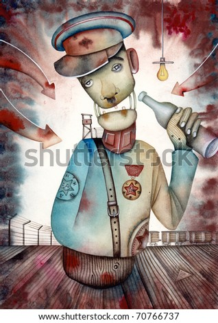 Allegory of jail guard. Gulag - stock photo