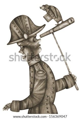 Allegory of the russian official. - stock photo