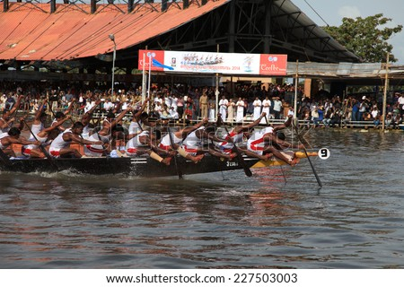 ALLEPPEY, INDIA - AUG 09 : Snake boat team participate in the most popular Nehru Trophy Boat race held in August 09, 2014 in Alleppey,Kerala, India. - stock photo