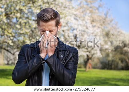 Allergy, Man, Springtime - stock photo