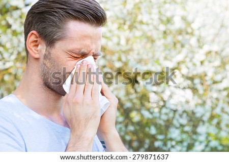 Allergy, Springtime, Man - stock photo