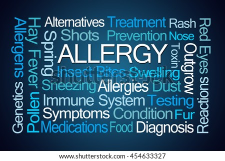 Allergy Word Cloud on Blue Background - stock photo