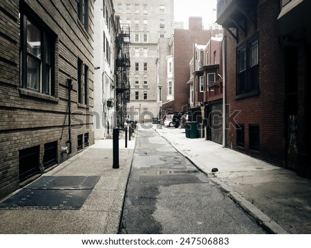 Alley in Center City, Philadelphia. - stock photo