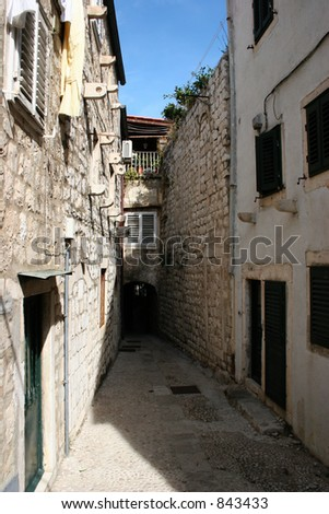 Alley in Dubrovnik, Croatia. - stock photo