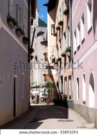 Alley in Hallstatt town of Austria. - stock photo