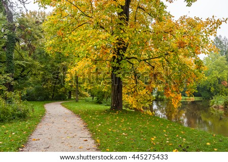 Alley in old autumn park with fallen leaves on path and grass, landscape - stock photo