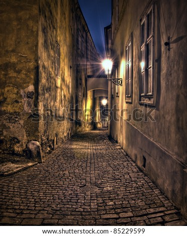 Alley in Old Prague - stock photo