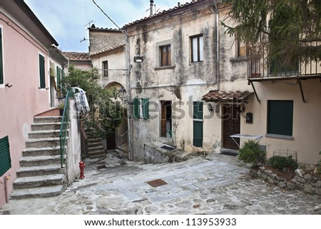Alley in the historic village of Marciana, island of Elba - stock photo
