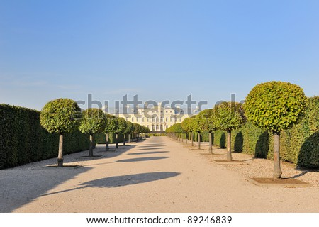 Alley in the Rundale park and the barocco style palace - stock photo