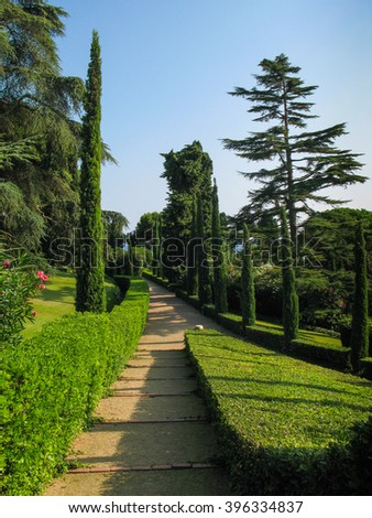Alley  with  cypress  trees  in  the  old  botanical  garden  on  coast  in  Lloret de Mar, Costa Brava, Catalonia, Spain.    - stock photo