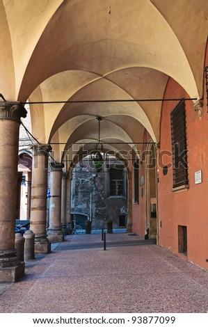 Alleyway. Bologna. Emilia-Romagna. Italy. - stock photo