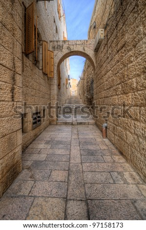 Alleyway in the Old City of Jerusalem, Israel. - stock photo