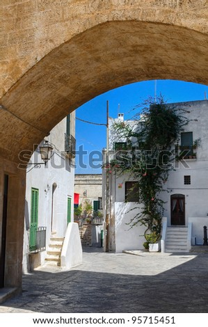 Alleyway. Oria. Puglia. Italy. - stock photo
