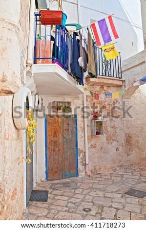 Alleyway. Polignano a mare. Puglia. Italy.  - stock photo