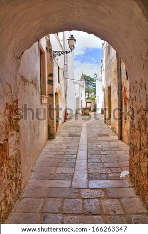 Alleyway. Presicce. Puglia. Italy. - stock photo