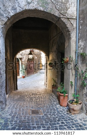 Alleyway. Ronciglione. Lazio. Italy. - stock photo