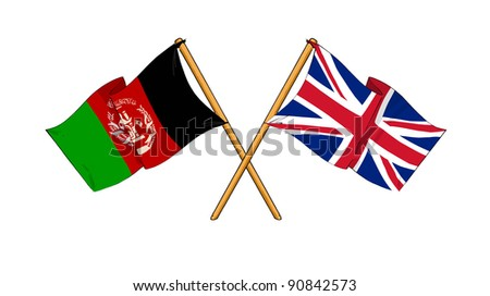 Alliance and friendship between Afghanistan and United Kingdom - stock photo
