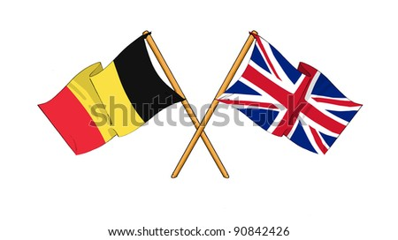 Alliance and friendship between Belgium and United Kingdom - stock photo